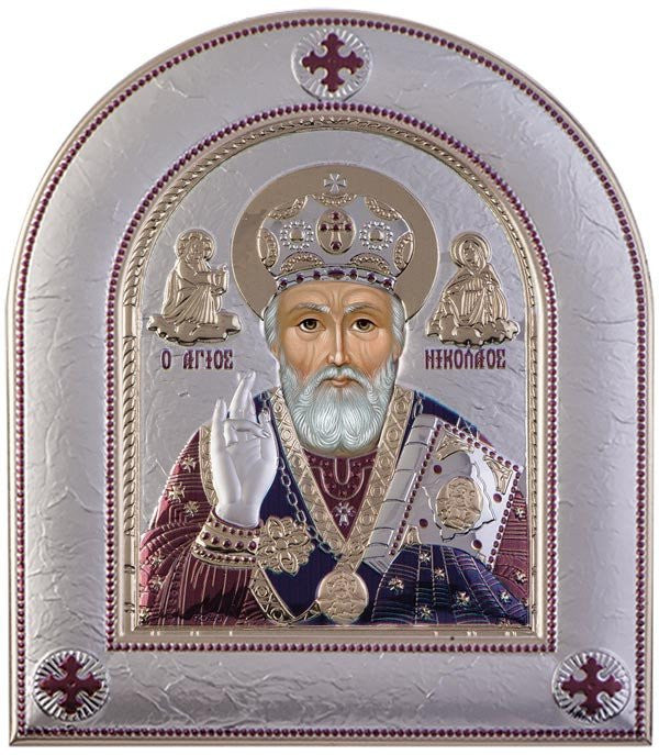 Saint Nicholas Silver Greek Orthodox Icon, Burgundy Made in Greece Άγιος Νικόλαος