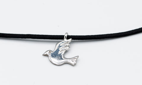 silver dove pendant, leather cord adjustable bird charm necklace