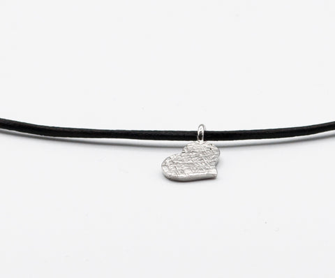 Silver heart pendant leather cord adjustable heart charm necklace