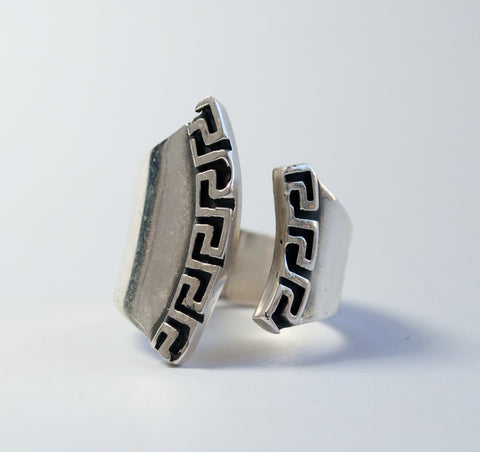 Greek key Ring Silver ring adjustable made in Greece Meander ring - Handmade with love from Greece