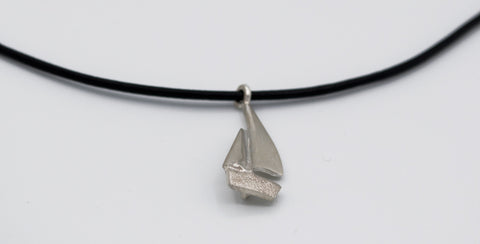 silver sailboat pendant charm, leather cord adjustable sailboat charm necklace