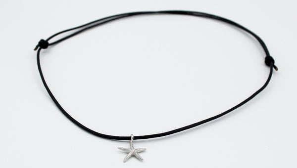 handmade silver starfish pendant charm, leather cord adjustable starfish charm necklace