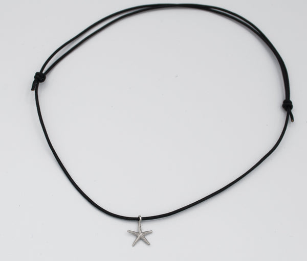 silver starfish pendant charm, leather cord adjustable starfish charm necklace