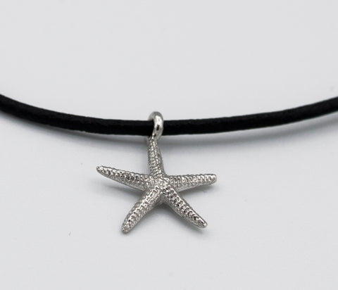 silver starfish pendant charm, leather cord adjustable starfish charm necklace. silver starfish charm pendant charm handmade in greece