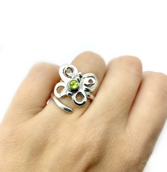 butterfly ring, silver butterfly ring, peridot ring