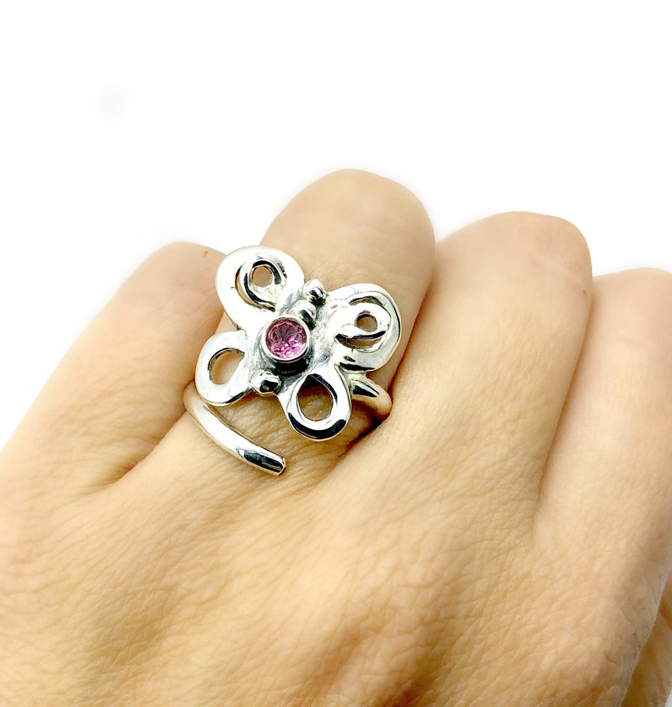 butterfly ring, silver butterfly ring silver adjustable ring, pink tourmaline ring