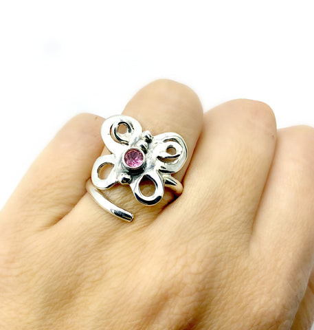 butterfly ring, silver butterfly ring silver adjustable ring, pink tourmaline ring - Handmade with love from Greece