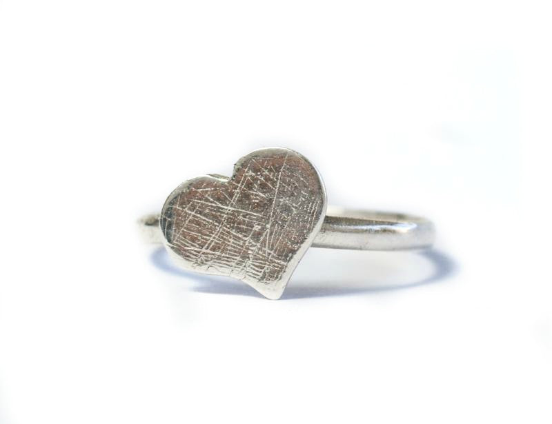 silver heart ring, rough textured silver heart ring, sterling silver heart ring