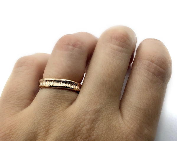 rose gold stacking ring, sterling silver stacking ring, pink ring