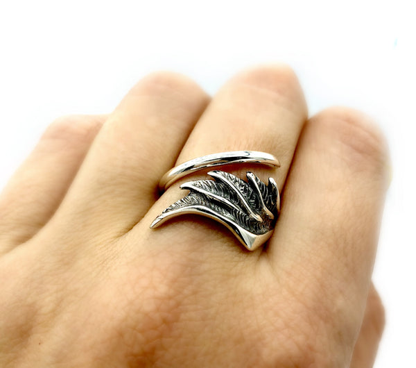 angel wing ring, wing ring, silver wing ring, silver adjustable ring