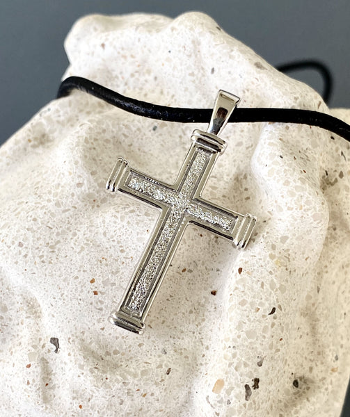 Men's cross necklace with leather cord, white rhodium plated sterling silver cross