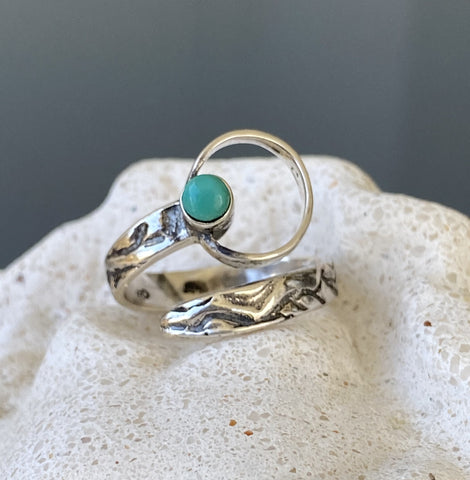 silver ring, handmade silver ring, turquoise silver circle ring