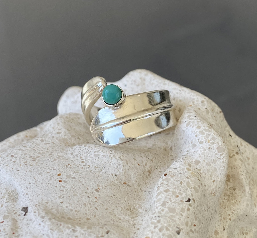 silver ring, gemstone silver ring, turquoise ring