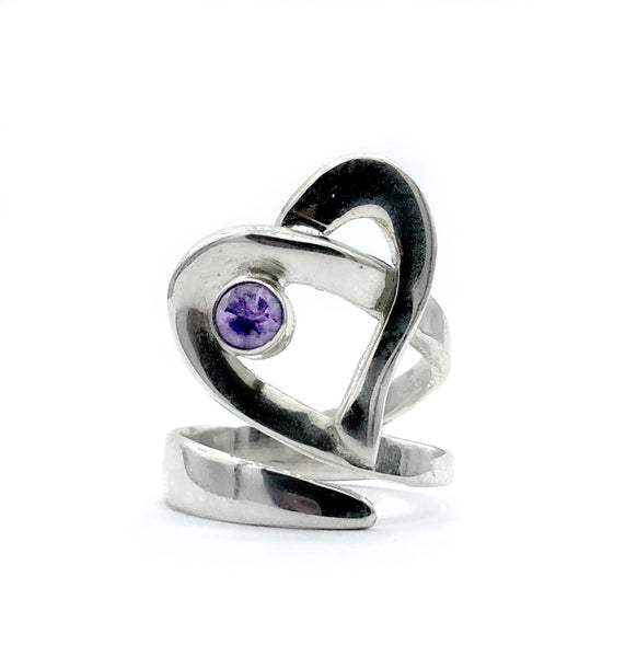 Heart ring, contemporary silver heart amethyst stone, adjustable heart ring - Handmade with love from Greece
