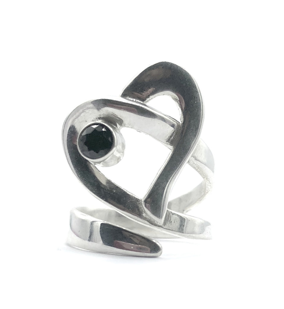 Heart ring, contemporary silver heart ring with black stone, adjustable heart ring - Handmade with love from Greece