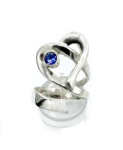Heart ring, contemporary silver heart blue iolite ring, adjustable heart ring