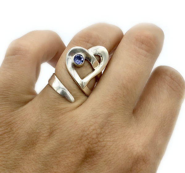 Heart ring, contemporary silver heart blue iolite ring, adjustable heart ring - Handmade with love from Greece