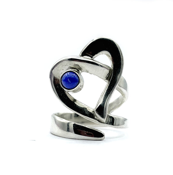 Heart ring, contemporary silver heart blue lapis ring, adjustable heart ring