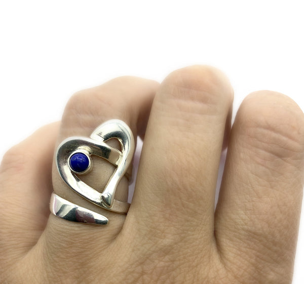 Heart ring, contemporary silver heart blue lapis ring, adjustable heart ring - Handmade with love from Greece