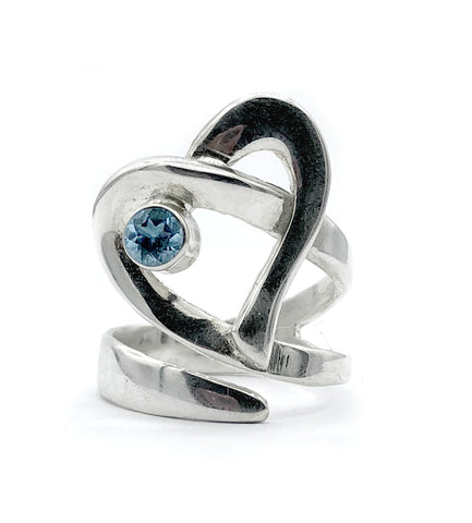 Heart ring, contemporary silver heart blue topaz stone, adjustable heart ring
