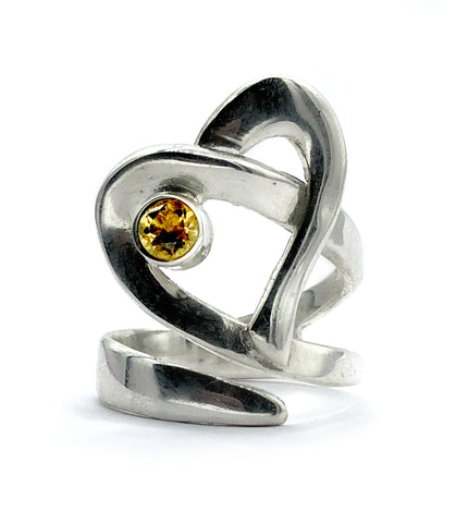 Heart ring, contemporary silver heart citrine stone, adjustable heart ring - Handmade with love from Greece