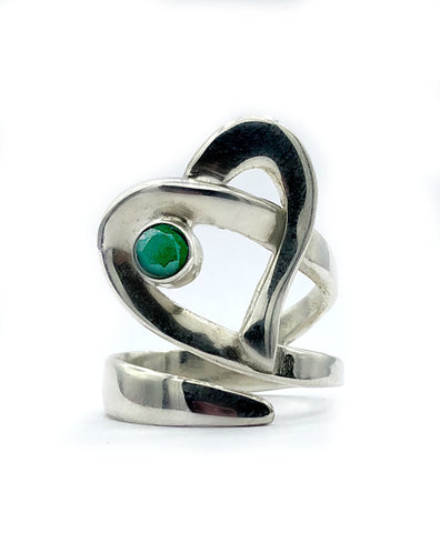 Heart ring, contemporary silver heart ring green agate stone, adjustable heart ring - Handmade with love from Greece