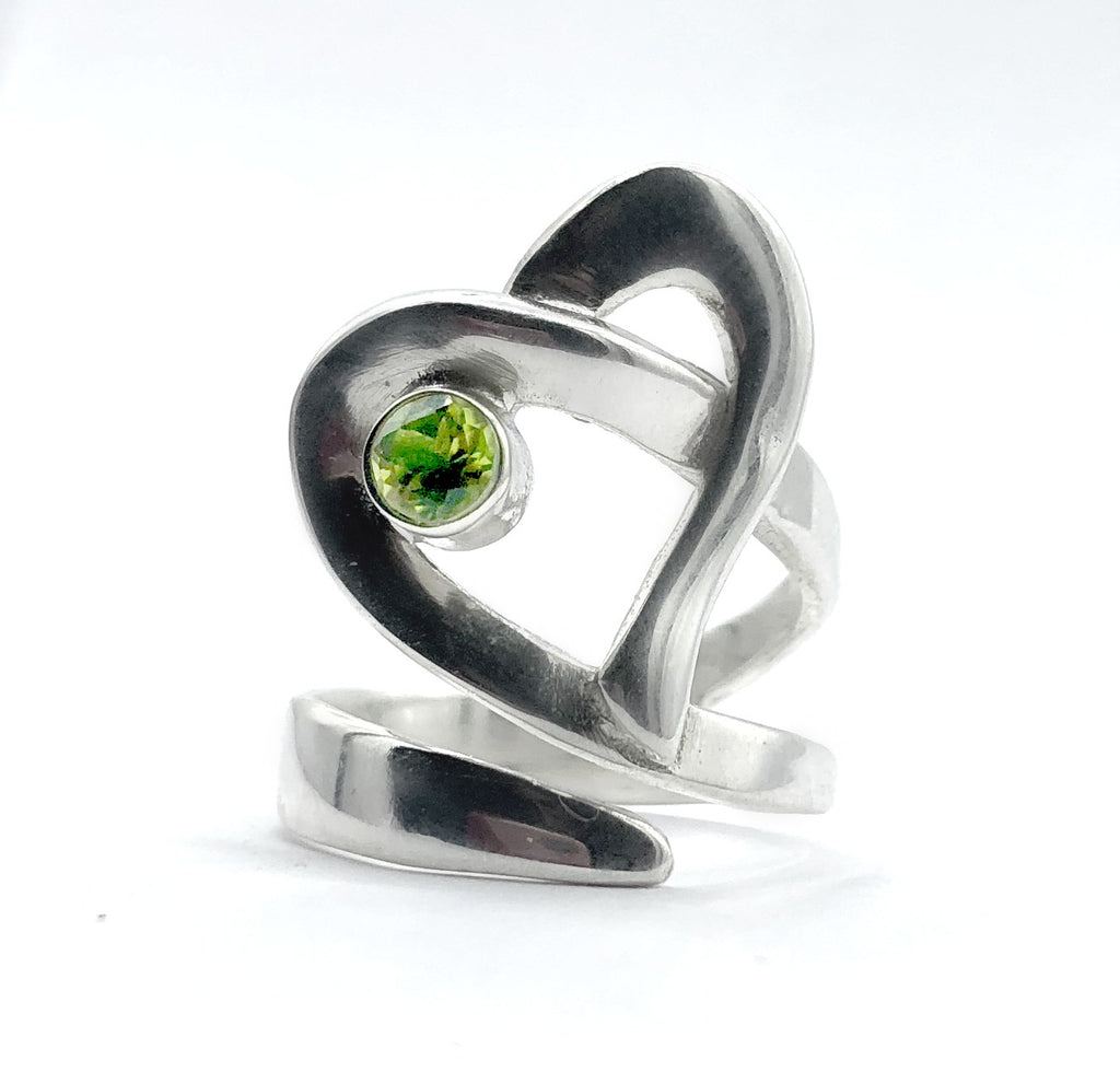 Heart ring, contemporary silver heart ring green peridot stone, adjustable heart ring