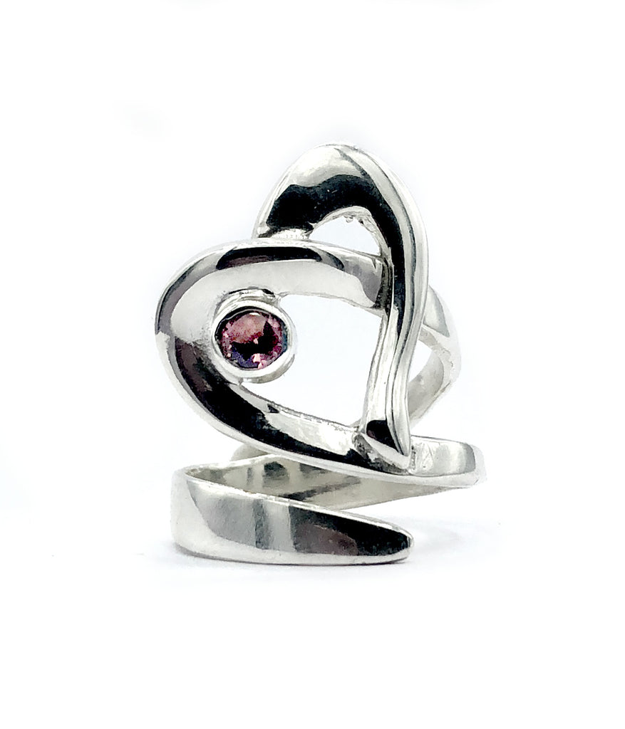 Heart ring, contemporary silver heart ring pink tourmaline stone, adjustable heart ring - Handmade with love from Greece