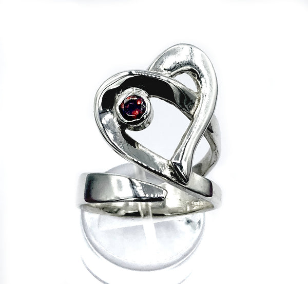 Heart ring, contemporary silver ring, red garnet ring, adjustable heart ring - Handmade with love from Greece