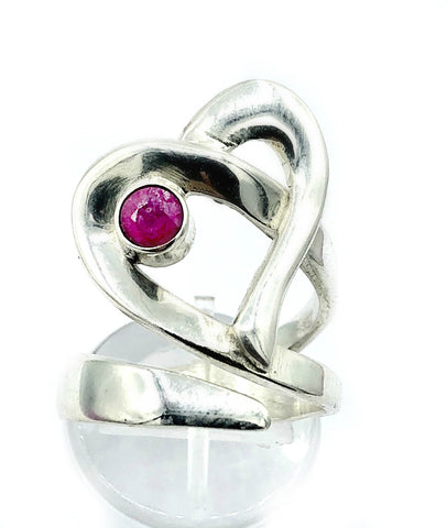 Heart ring, ruby silver ring adjustable, contemporary silver ring ruby