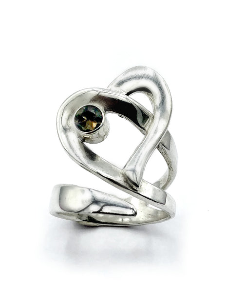 Heart ring, contemporary silver heart smoky quartz ring, adjustable heart ring - Handmade with love from Greece