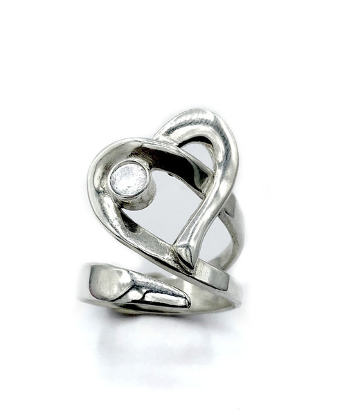 Heart ring, contemporary silver heart ring zircon stone, adjustable heart ring - Handmade with love from Greece