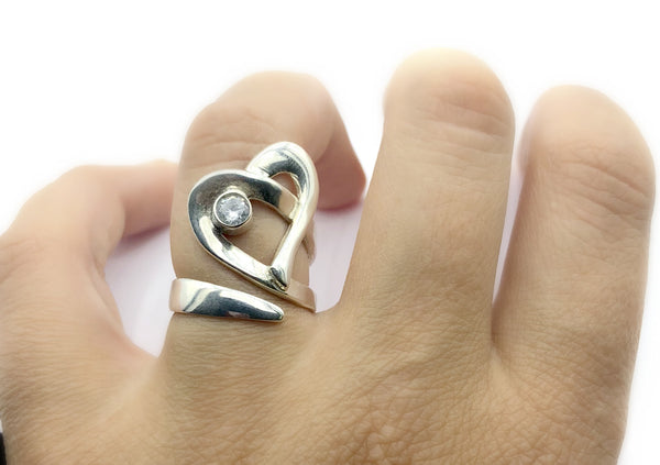 Heart ring, contemporary silver heart ring zircon stone, adjustable heart ring