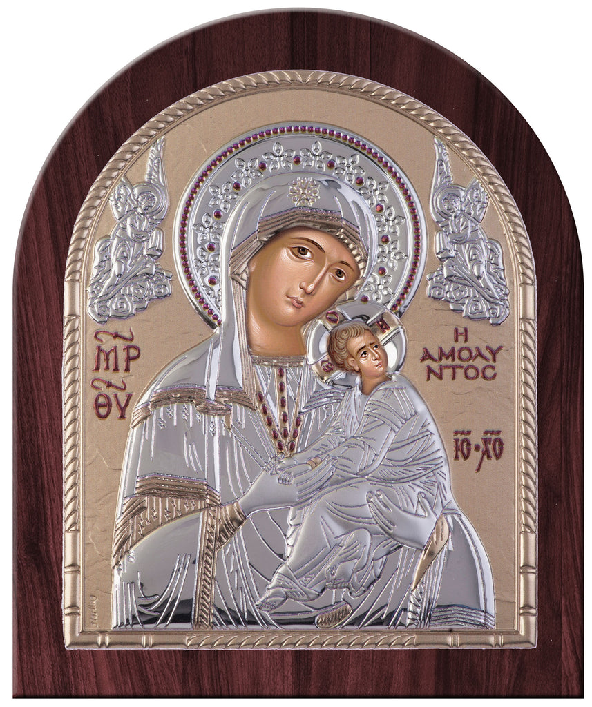 Virgin Mary Amolyntos Greek Orthodox Silver Icon, Gold 20 x 24.5cm