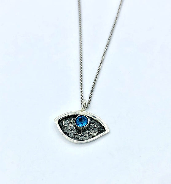 Evil eye pendant, blue topaz stone, small evil eye pendant silver chain