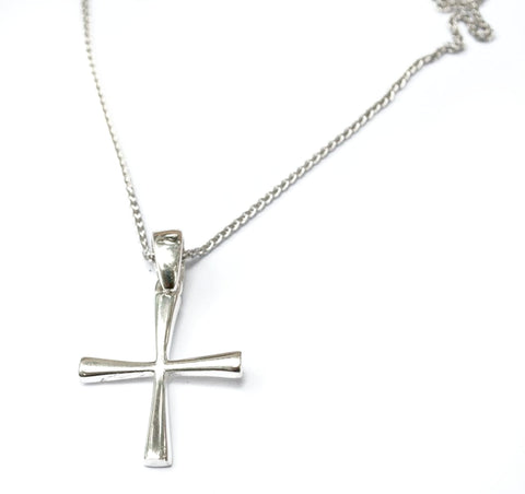 Silver cross necklace, small silver cross, Byzantine silver cross, silver cross pendant, handmade silver cross with silver chain.