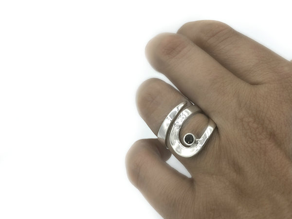 Smoky quartz silver adjustable ring, drop shape silver ring, modern ring