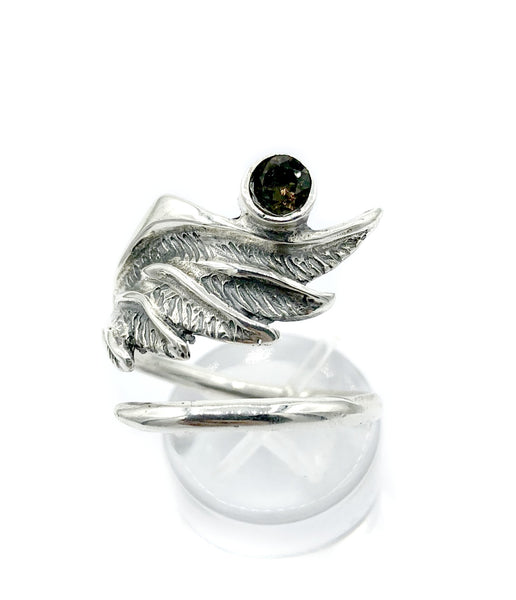 wing ring, angel ring, angel wing ring, smoky quartz ring adjustable ring