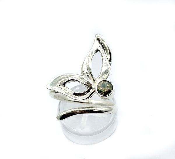 flower ring, smoky quartz silver ring, one size fits all ring, modern ring