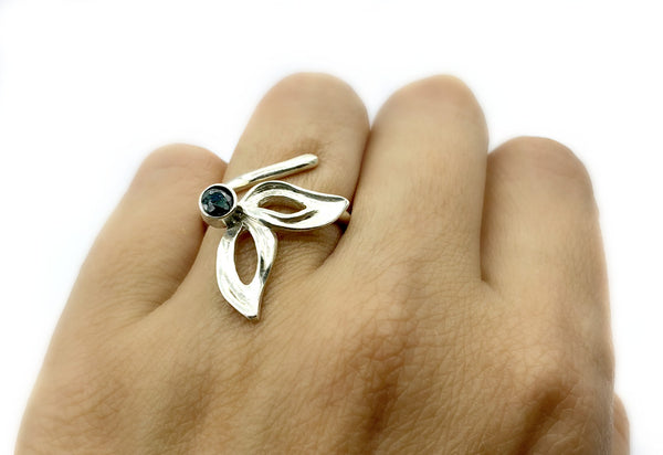 flower ring, smoky quartz silver ring, one size fits all ring, modern ring - Handmade with love from Greece