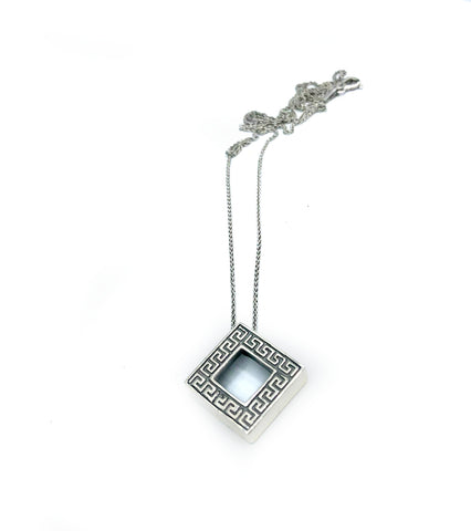 square greek key pendant, greek pendant, greek jewelry, meander pendant