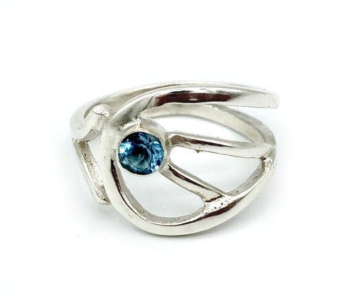 blue topaz silver ring, blue stone ring, contemporary silver ring