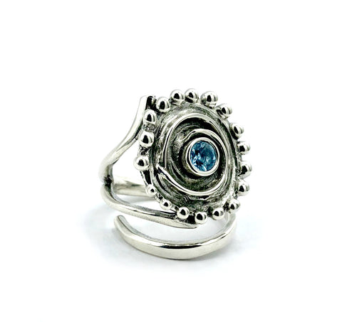 Sun Ring, swirl ring, large silver sun ring blue topaz ring