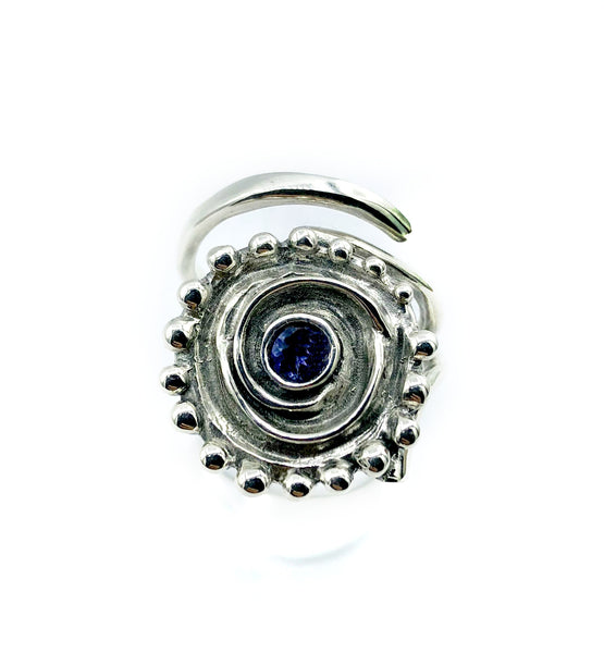 sun ring, swirl ring, large silver sun ring blue iolite ring