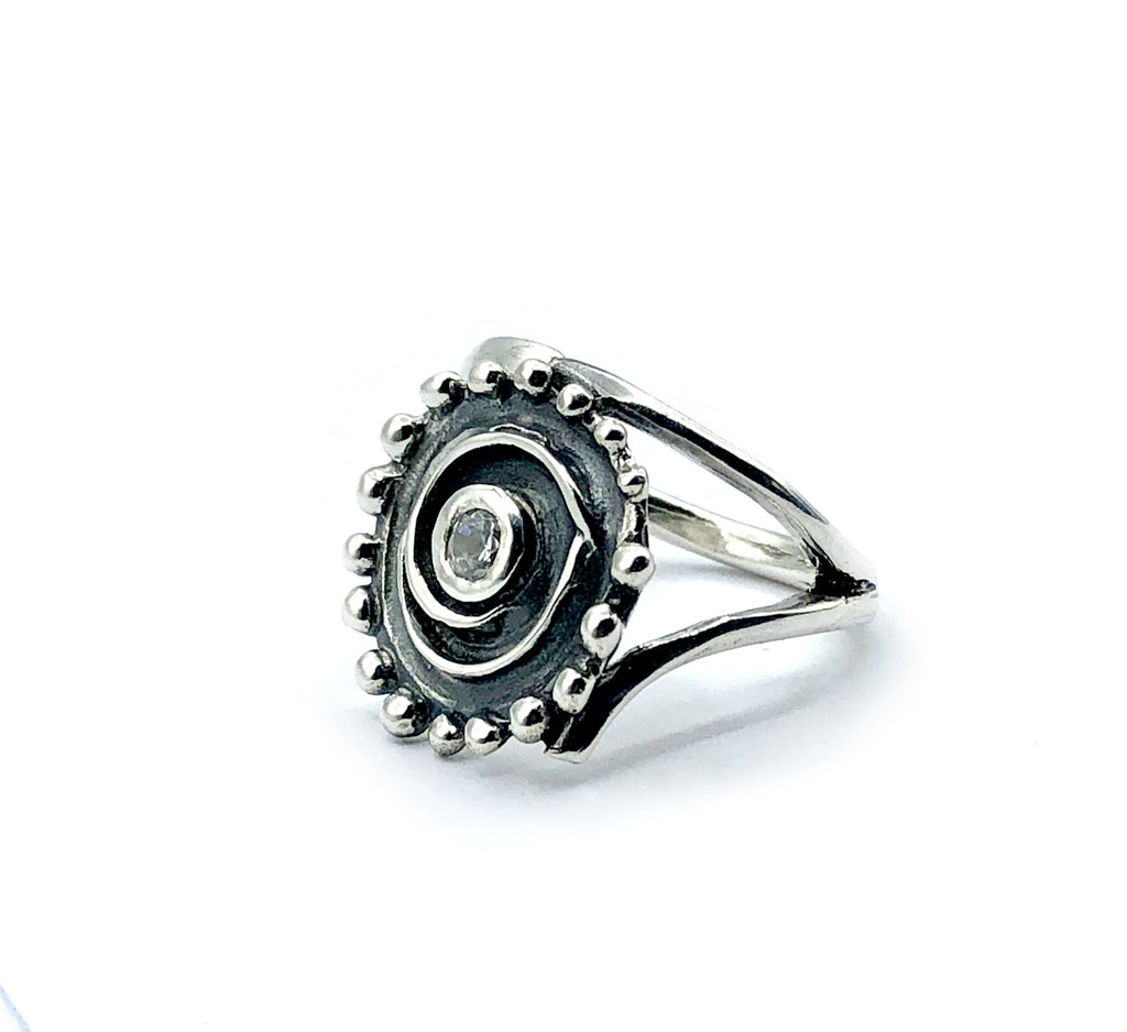 Sterling silver with spiral swirl design Greek ring