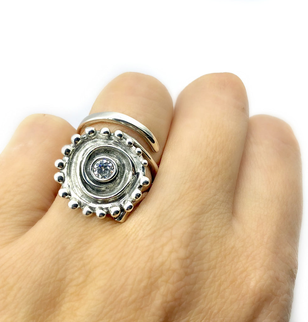 sun ring, swirl ring, large silver sun ring zircon ring