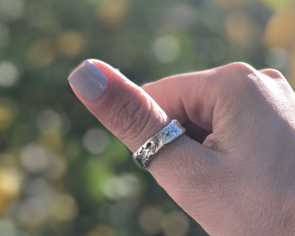 Chunky Rustic textured band, silver ring, oxidized rough band - Handmade with love from Greece