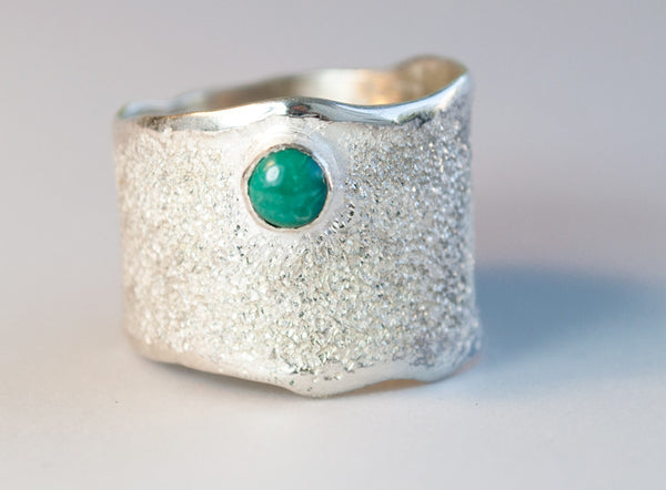 Turquoise stone Wide Silver Ring, Turquoise Solitaire Ring foster texture with 925 silver