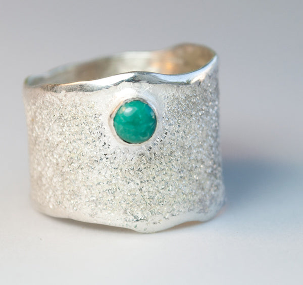 Turquoise stone Wide Silver Ring, Turquoise Solitaire Ring foster texture with 925 silver wide band handmade in Greece