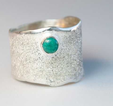 Turquoise Silver ring, Turquoise stone Solitaire ring rough textured